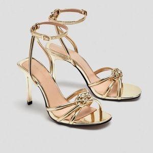 Zara gold braided strappy heels 6.5